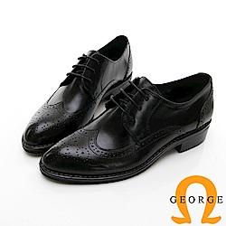 【GEORGE 喬治皮鞋】女紳綁帶雕花牛津中跟鞋-黑色