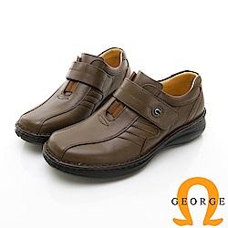 【GEORGE 喬治皮鞋】休閒系列 魔鬼氈柔軟工作皮鞋-咖啡色