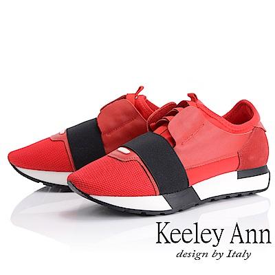 Keeley Ann 個性玩酷~繃帶懶人運動休閒鞋(紅色-Ann系列)