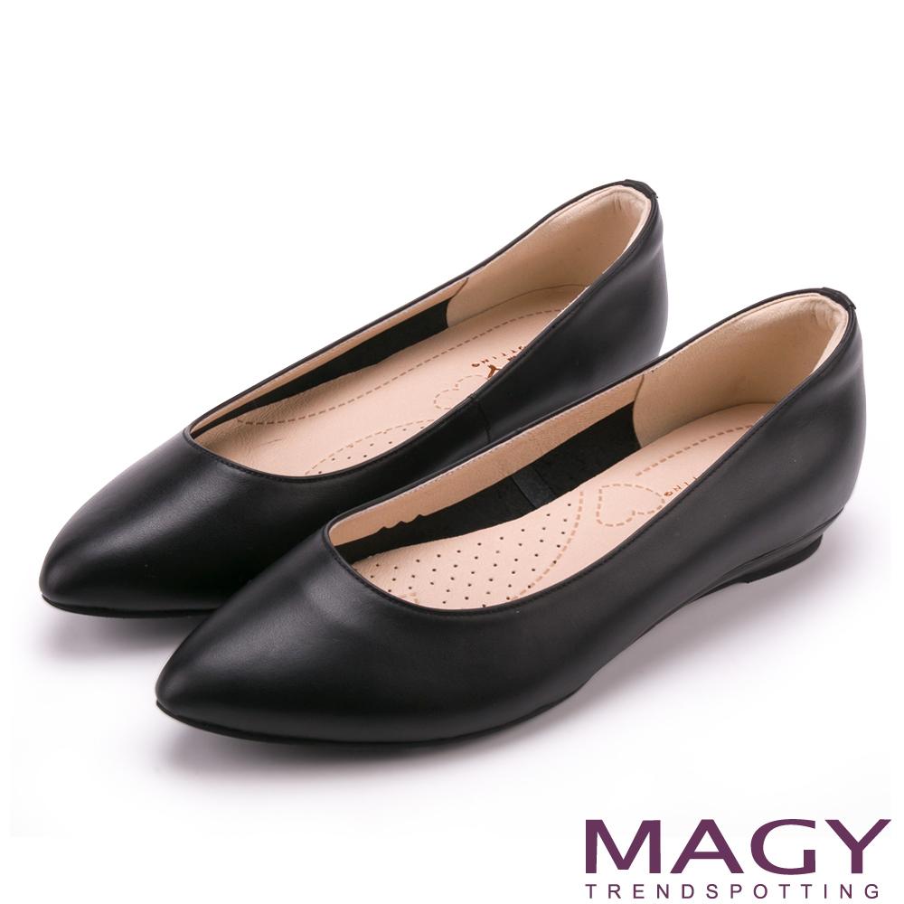 MAGY 親膚舒適尖頭真皮 女 平底鞋 黑色