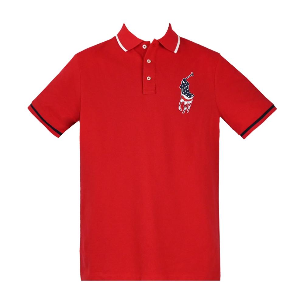 Ralph Lauren 經典刺繡國旗大馬滾邊男款POLO衫-紅