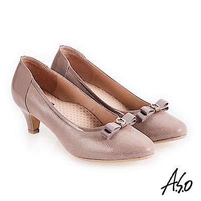 A.S.O 義式簡約 鏡面皮感蝴蝶裝飾高跟鞋 卡其