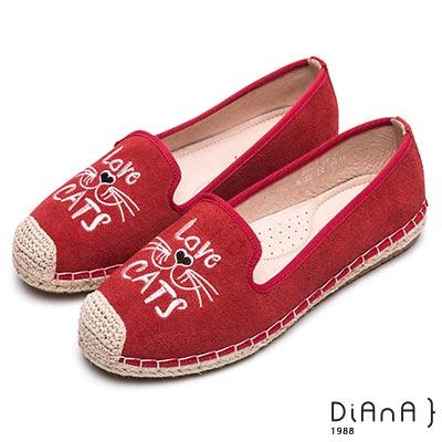 DIANA 玩樂趣味--電繡貓咪圖案麻編平底鞋-紅