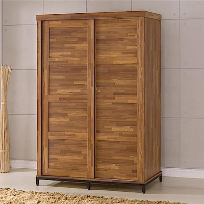 綠活居 派米亞4.8尺木紋推門衣櫃(吊衣桿+穿衣鏡+二抽屜)-143x63x216cm免組