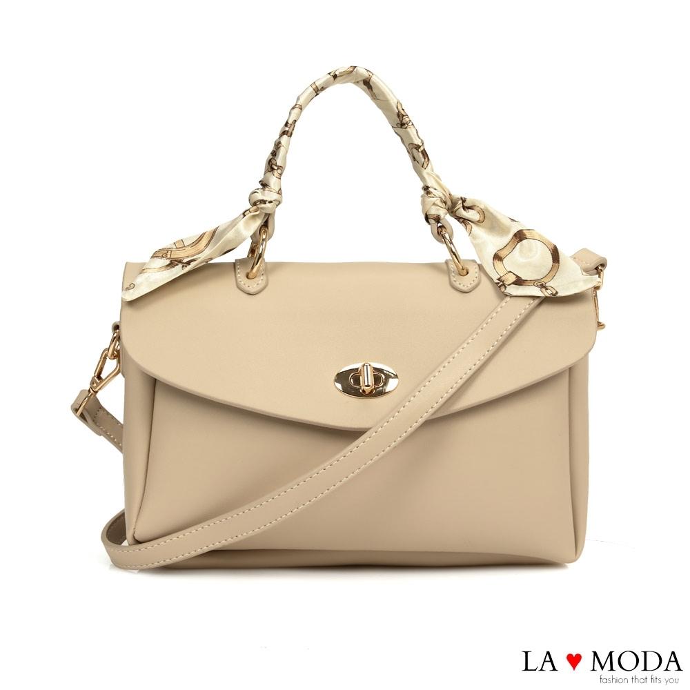 La Moda 設計小巧思緞帶把手多背法肩背斜背大方包(杏)
