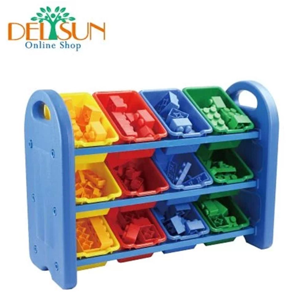 【DELSUN 岱森城】 十二格玩具收納架 (繽紛彩虹)