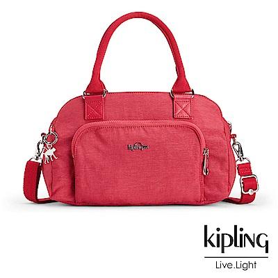 Kipling 斜背包 紋路質感蘋果紅-中