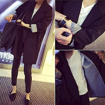 JILLI-KO 修飾顯瘦長版西裝外套- 黑