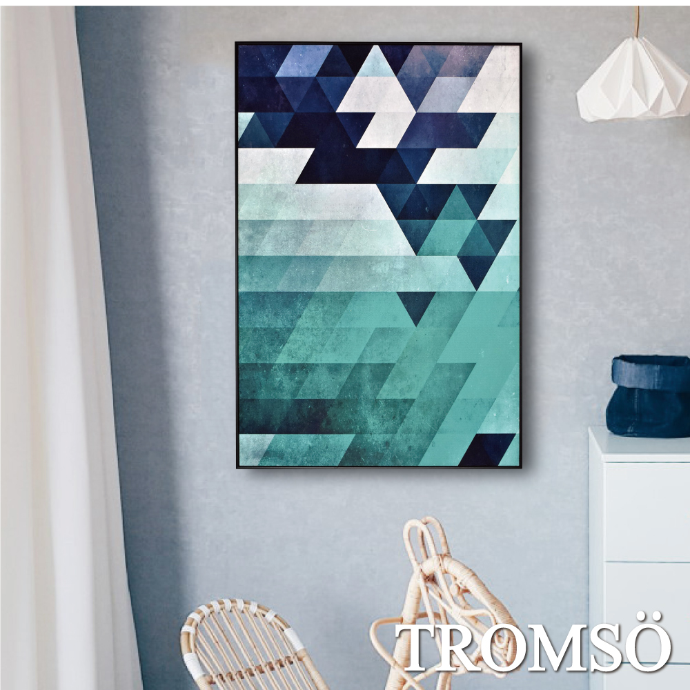 TROMSO 北歐生活版畫有框畫-綠境菱格WA72