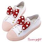 Disney collection by grace gift2way立體蝴蝶結休閒鞋白粉