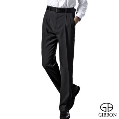GIBBON 質感暗紋商務打摺西裝褲‧黑灰