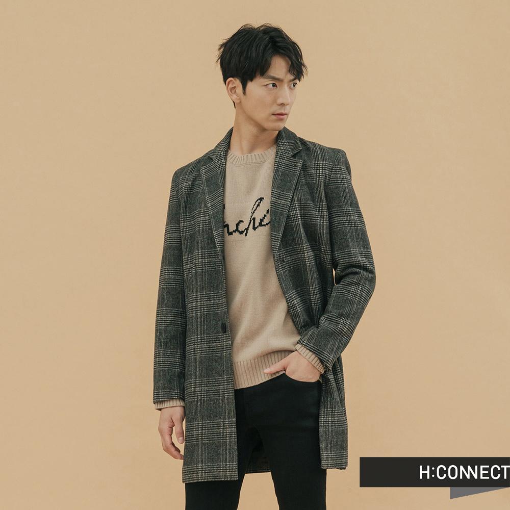 H:CONNECT 韓國品牌 男裝-長板格紋羊毛大衣-棕