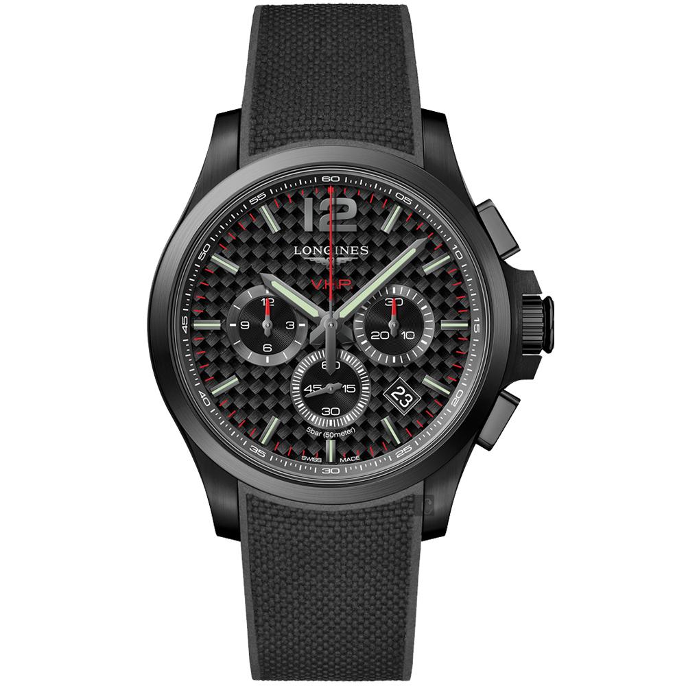 LONGINES 浪琴 征服者系列V.H.P.萬年曆碳纖維計時手錶-黑/43mm