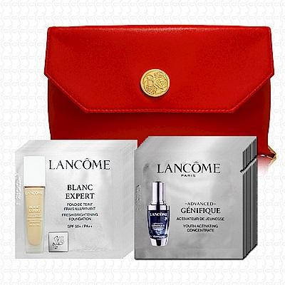 LANCOME蘭蔻 超進化肌因賦活露1mlx12+激光煥白亮采粉底液1mlx12-贈化妝包