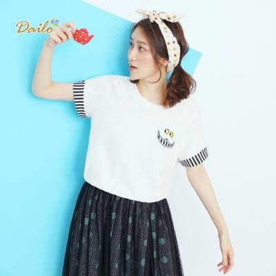 【DAILO】條紋塗鴉刺繡-上衣(共四色)