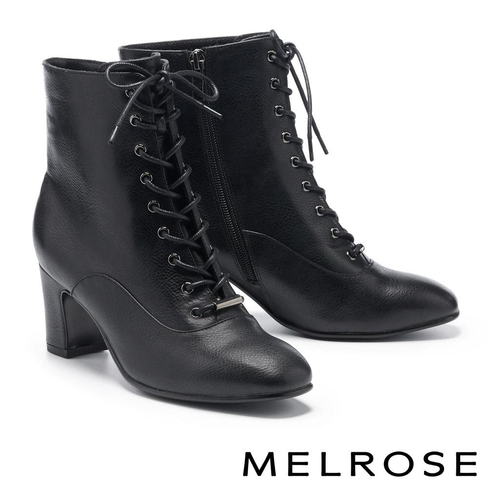 短靴 MELROSE 復古質感綁帶方頭造型高跟短靴-黑