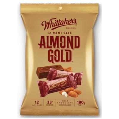 Whittaker s 杏仁夾餡牛奶巧克力磚形分享包(180g)