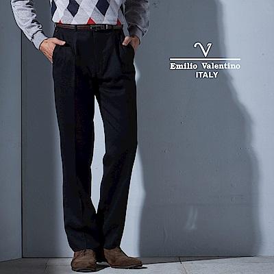 Emilio Valentino 正式品味細條紋仿毛打褶西褲_黑(75-5B753)