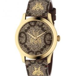GUCCI 古馳 G-Timeless 雙G蜜蜂印花腕錶(YA1264068)x38mm