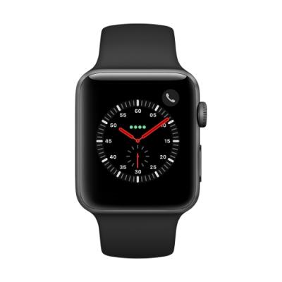 Apple Watch Series 3(GPS+網路)42mm太空灰鋁金屬錶殼+黑色錶帶