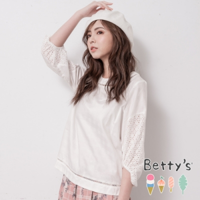 betty's貝蒂思 圓領拼接蔞空蕾絲上衣(白色)