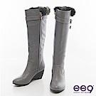 ee9心滿益足~百搭奢華經典扣環楔型長筒靴~灰色