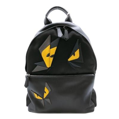 FENDI 尼龍拼接小牛皮怪獸/蝴蝶造型後背包(7VZ012-黑)