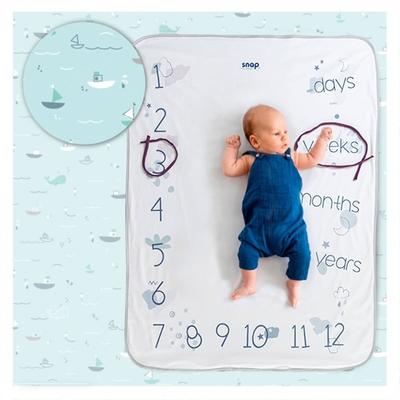 【波蘭Snap The Moment】寶寶寫真毯-Aqua Marine(抗菌銀離子 雙面可用 拍照毯 嬰兒毯)