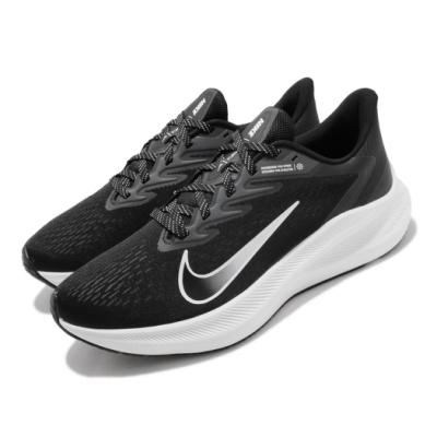 Nike 慢跑鞋 Zoom Winflo 7 運動 男鞋 氣墊 避震 路跑 健身 透氣 舒適 黑 白 CJ0291005