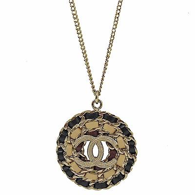 CHANEL 經典鍊帶裝飾雙C LOGO項鍊(金)