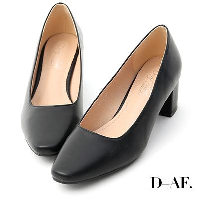 D+AF 溫柔色調.素面方頭美型中跟鞋*黑
