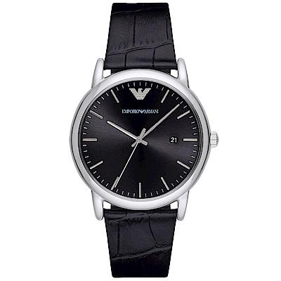 Emporio Armani 質感品味時尚真皮手錶(AR2500)-黑/42mm
