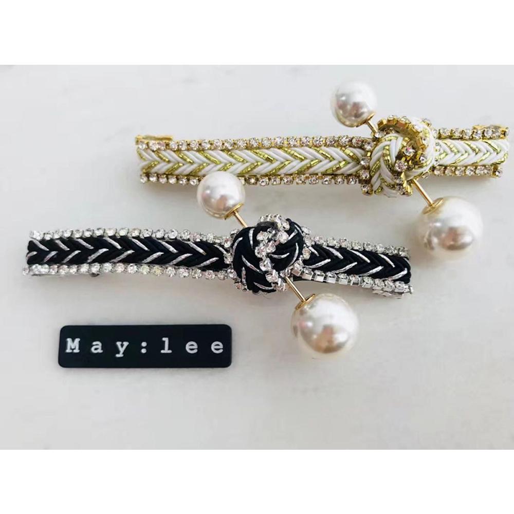 梨花HaNA 韓國南大門MAY:LEE鑲鑽扭結珍珠髮夾 @ Y!購物
