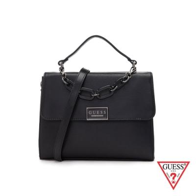 GUESS-女包-純色簡約粗鍊條手提肩背包-黑 原價3290