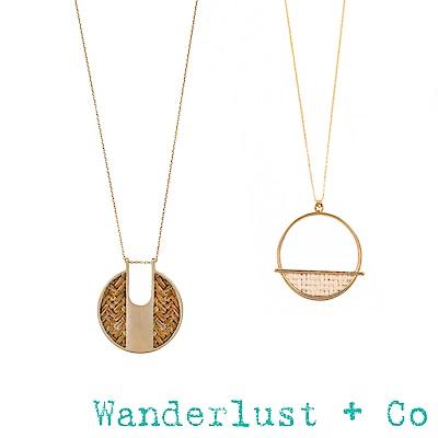 [時尚套組] Wanderlust + Co 金色象牙白藤編耳環&咖啡藤編項鍊