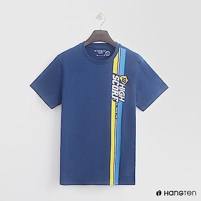 Hang Ten - 男裝 - 有機棉-有機棉-純色造型大logo棉T - 藍