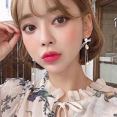 梨花HaNA 韓國925銀貝珠水鑽流蘇緞帶蝴蝶結耳環