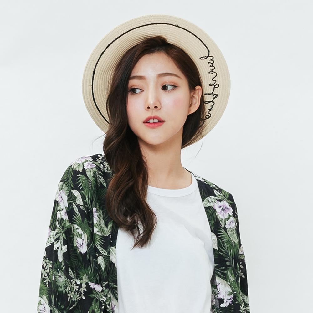H:CONNECT 韓國品牌 -簡約文字編織草帽