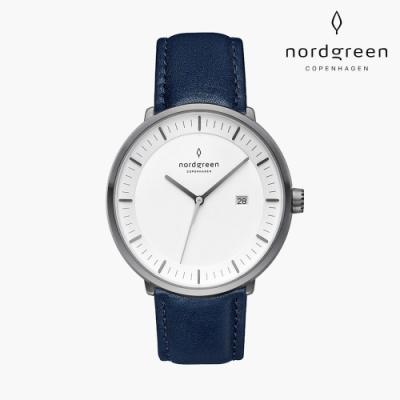 Nordgreen Philosopher 哲學家 深空灰系列 北歐藍真皮錶帶手錶 40mm
