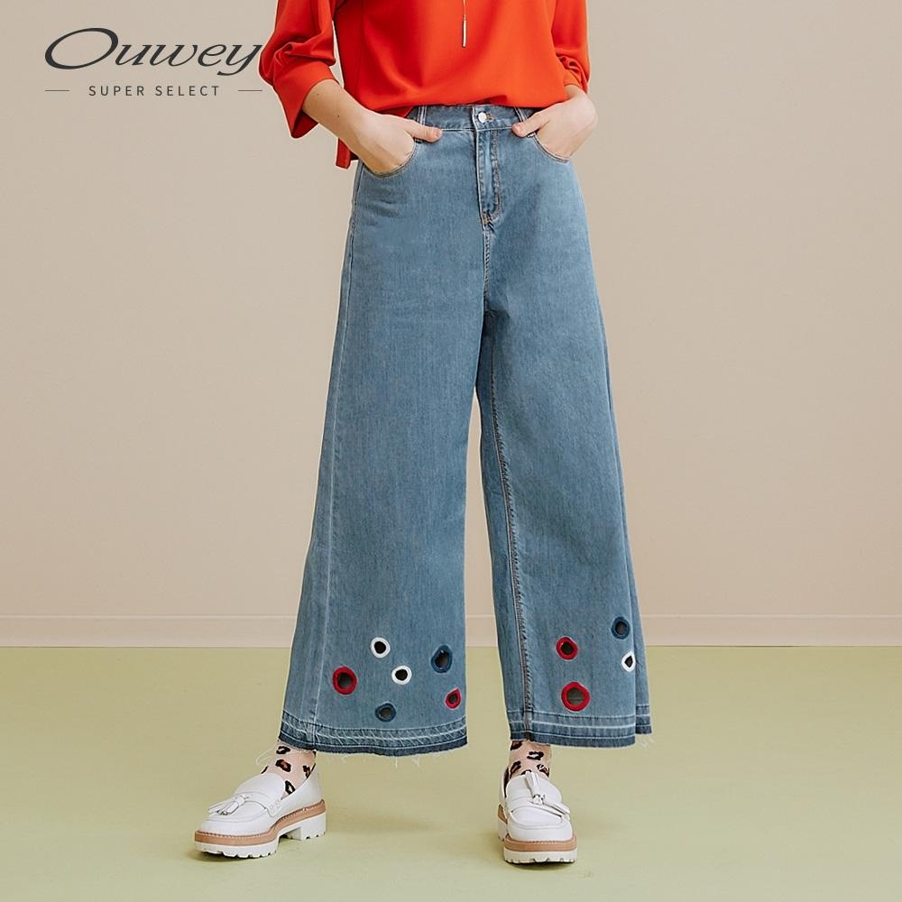 OUWEY歐薇 波點刺繡牛仔寬褲(藍)