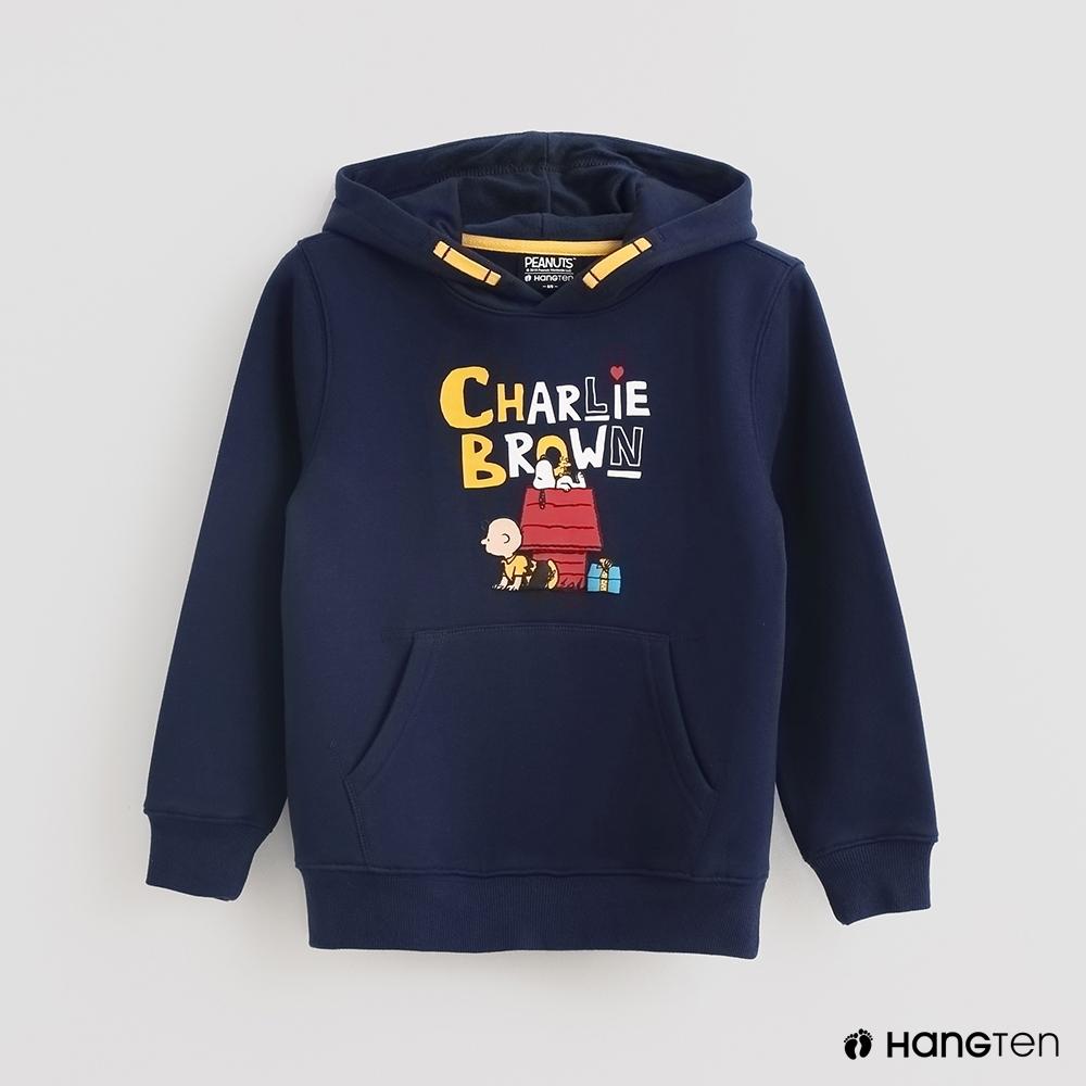 Hang Ten -童裝-Charlie Brown-亮眼印花刷毛連帽上衣-藍