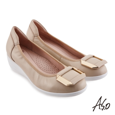 A.S.O 時尚流行 紓壓氣墊飾釦羊皮直套底台休閒鞋-卡其