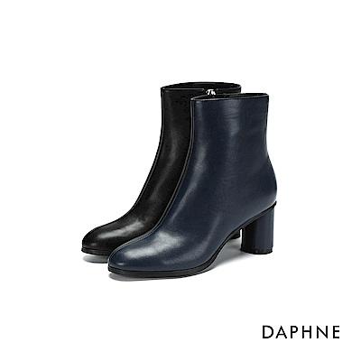 達芙妮DAPHNE 短靴-拼色霧面拉鍊高跟短靴-深藍