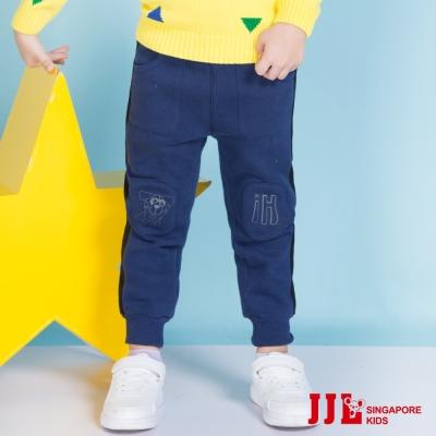 JJLKIDS 小機器人縮口刷毛運動休閒棉長褲(藏青)