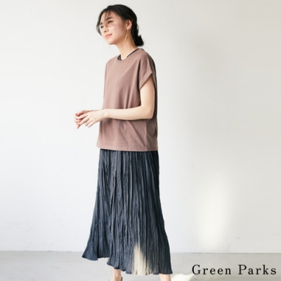 Green Parks 【SET ITEM】圓領T恤+無袖長版皺褶連身裙