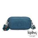 Kipling 遼闊海峽藍雙拉鍊長方形側背腰包-AKPA