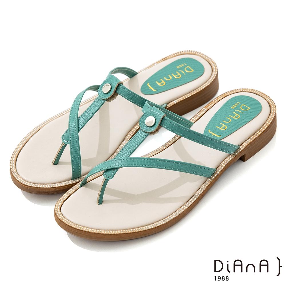 DIANA 2.5cm 質感壓紋羊皮幾何線條夾腳涼拖鞋-簡約優雅-綠