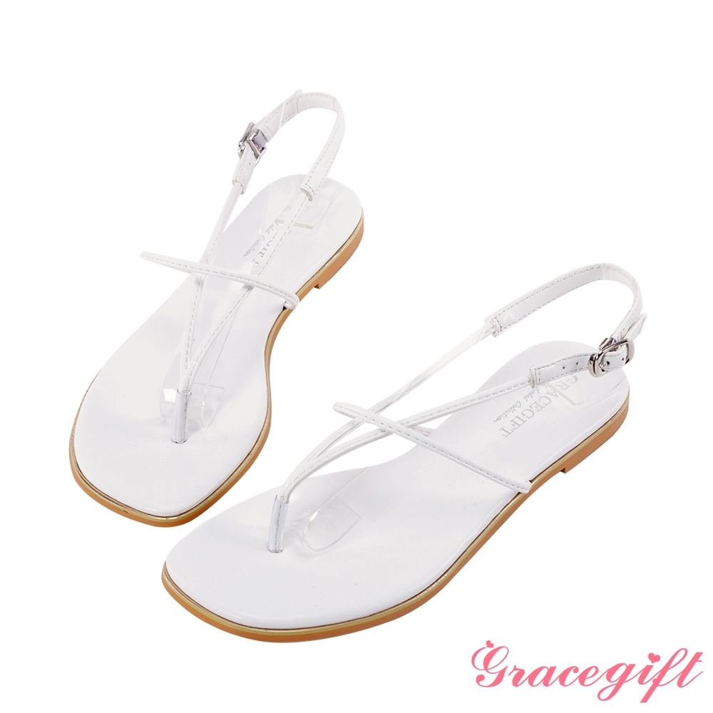 Grace gift-簡約V字細帶平底涼鞋 白