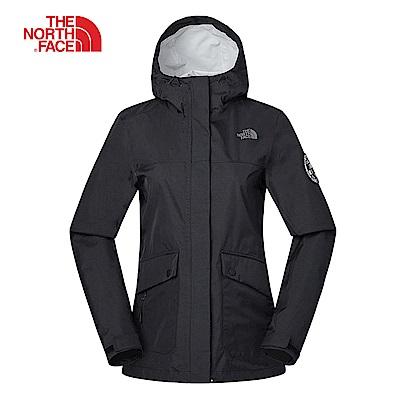 The North Face北面女款黑色防水透氣衝鋒衣|3V49JK3