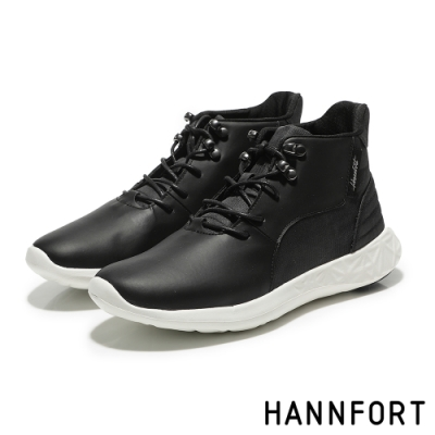 HANNFORT ICE防潑水科技綁帶運動短靴-女-科技黑